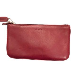 Coach Red leather zipper pouch makeup bag